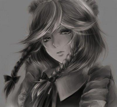 Аниме девушки с длинными волосами и челкой