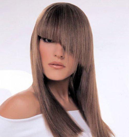 Рваная косая челка с длинными волосами фото