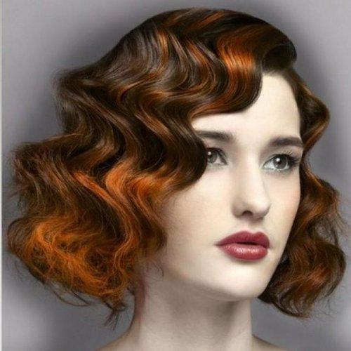 Кудри на короткие волосы с челкой фото