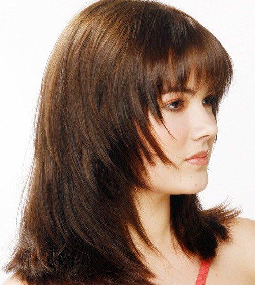 Каскад с челкой на средние волосы фото